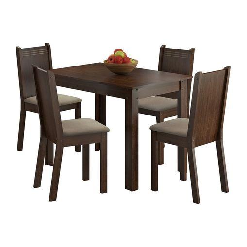 Tudo sobre 'Conjunto Mesa de Jantar com 4 Cadeiras Tabaco-Pérola Rute Madesa'