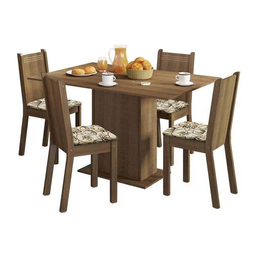 Tudo sobre 'Conjunto Mesa de Jantar e 4 Cadeiras Rustic-Lírio Lexy Madesa'