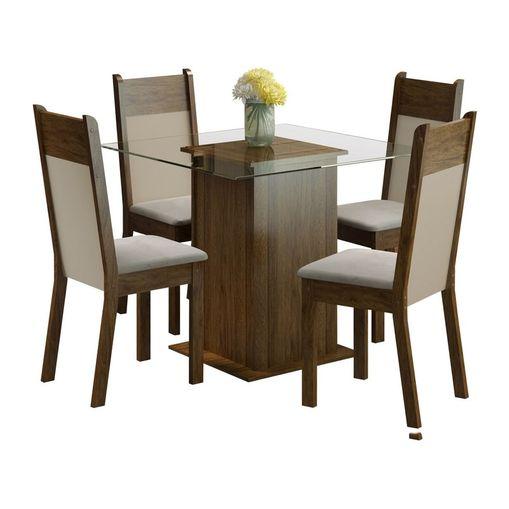 Tudo sobre 'Conjunto Mesa de Vidro com 4 Cadeiras Miami Marrom Madesa'