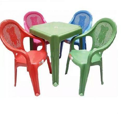 Conjunto Mesa Verde 4 Cadeiras Infantil Colorida Antares