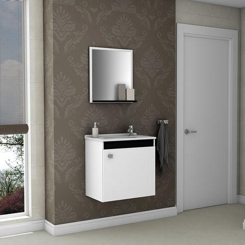 Conjunto Banheiro Gabinete e Espelheira Siena Branco e Preto - Aladdin