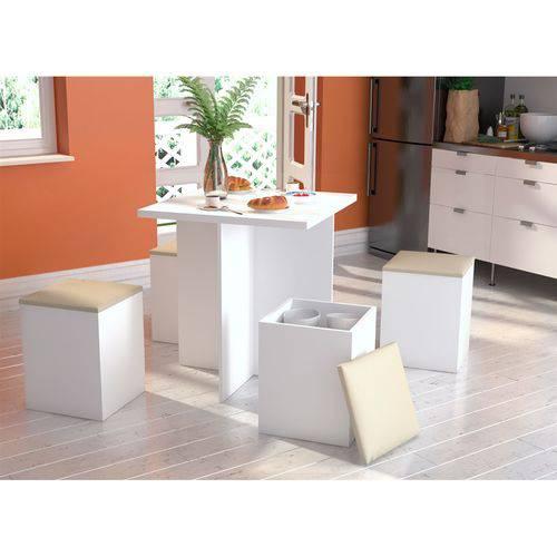 Tudo sobre 'Conjunto para Sala de Jantar Mesa e 4 Banquetas Bliv - Branco/Bege'