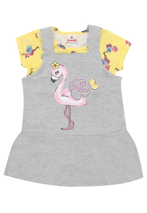 Conjunto 2pçs Brandili Curto Menina Flamingo Amarelo