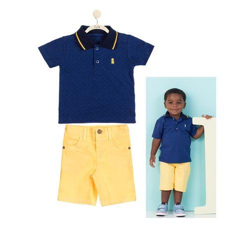 Conjunto Pólo Azul e Bermuda Amarela - P