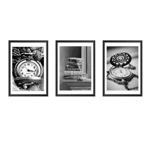 Conjunto 3 Quadros Minimalistas, Preto e Branco