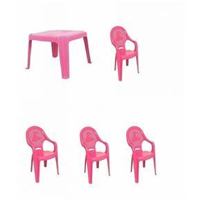 Conjunto Rosa Mesa 4 Cadeiras Poltrona Infantil Antares - Rosa