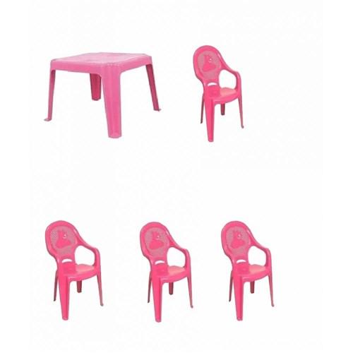 Conjunto Rosa Mesa 4 Cadeiras Poltrona Infantil Antares