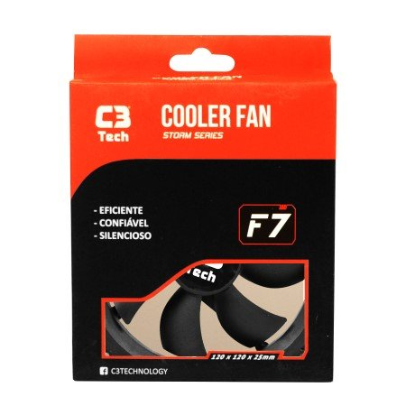 Cooler Fan C3tech Storm Series F7-100bk 120x120x25 Milimetros