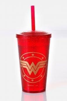 Tudo sobre 'Copo Acrílico Vermelho Wonder Woman Logo'