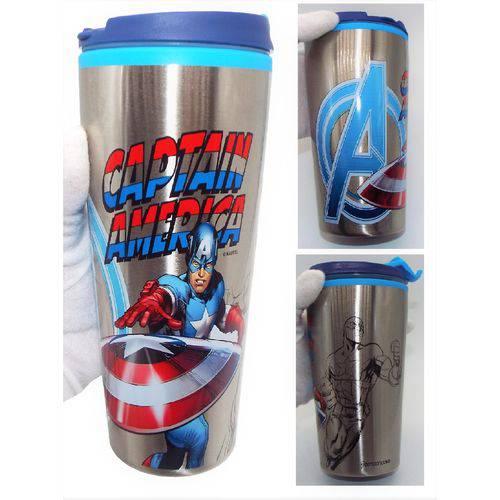 Tudo sobre 'Copo Estilo Anime Gamer Geek Capitão América Marvel Avengers Vingadores com Acabamento Externo Metálico'