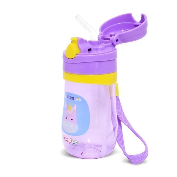 Copo Plástico Violet com Canudo Tampa Pop-up 350ML Comtac