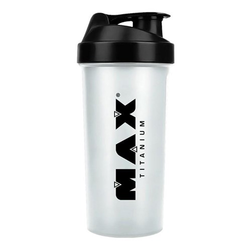 Coqueteleira 600Ml Max Titanium - Transparente Log Preto