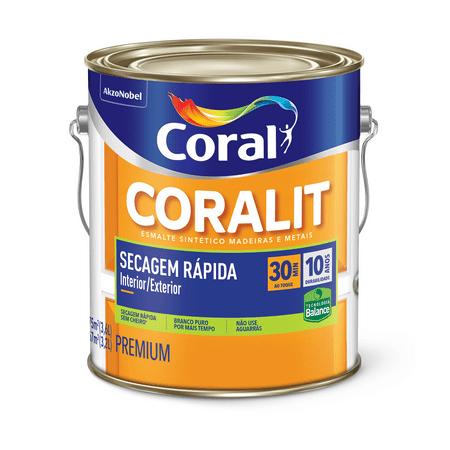 Coral Coralit Secagem Rápida Zero Odor Brilhante 3,6 Litros Branco