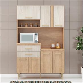 Cozinha Compacta Dora 7 Portas Carvalho/Blanche - Fellicci - Marrom