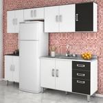 Tudo sobre 'Cozinha Compacta Modulada 5 Peças Branco Preto Poliman'