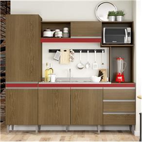 Cozinha Compacta Vitória 318 - Soluzione - MARROM CHOCOLATE