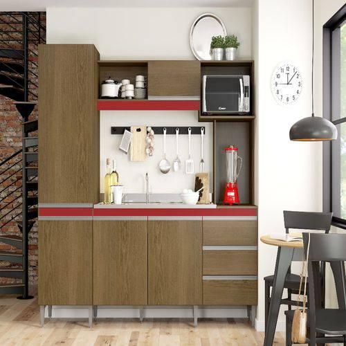 Cozinha Compacta Vitória 2 Portas 3 Gavetas Avelã/vermelho/branco - 77 Móveis