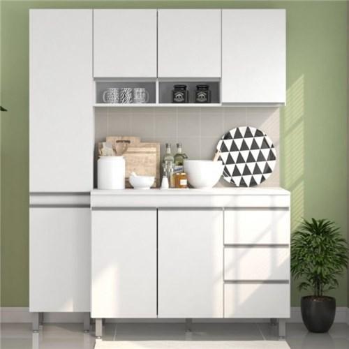 Tudo sobre 'Cozinha Pequi 7 Portas 3 Gavetas Viero Móveis - Branco'