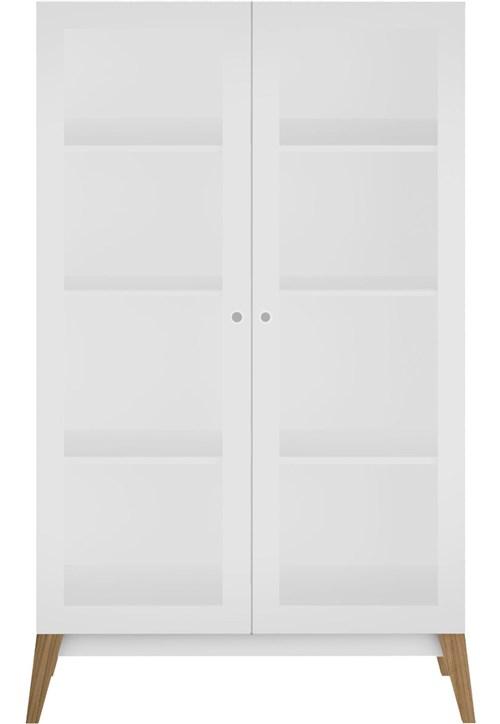 Cristaleira C/ 2 Portas de Vidro Branco-Brilho Genialflex Móveis