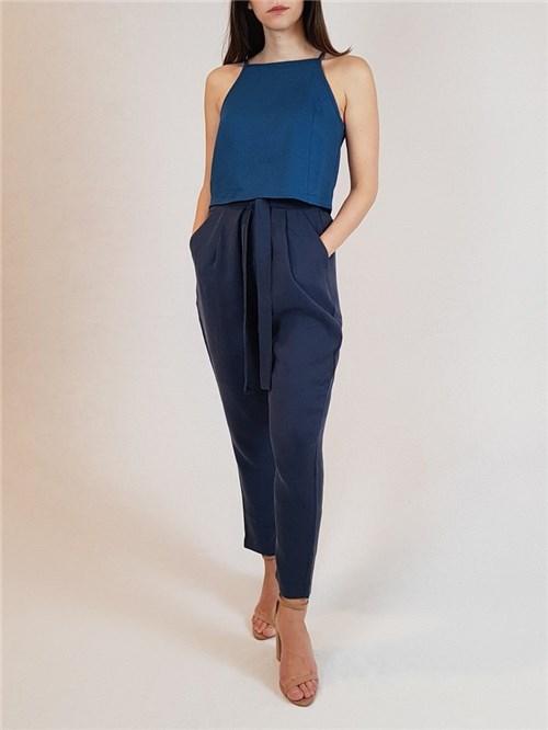 Calça com Bolso - Azul Marinho (P, Azul Marinho)