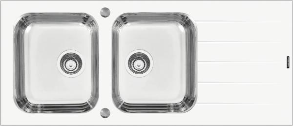 Cuba de Sobrepor Vidro Temperado Branco 116X50 - Tramontina