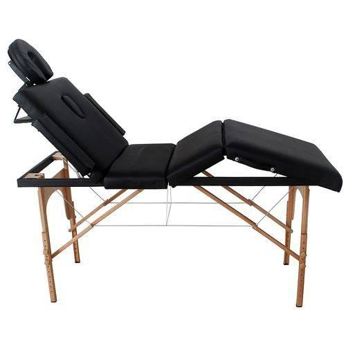 Divã Mala Dobrável Reclinável Premium com Orifício Mesa Maca Massagem Estética - Modelo MMP70P Preta Tssaper