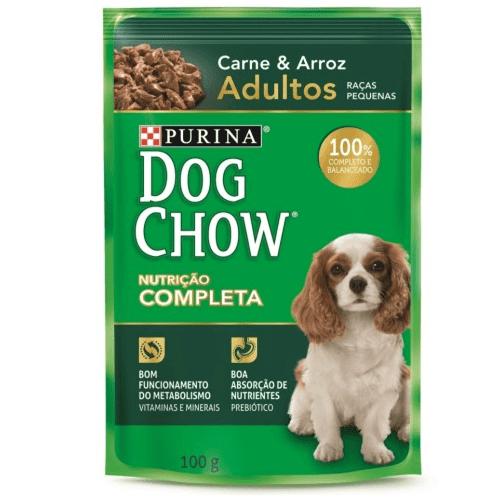 Tudo sobre 'Dog Chow Sachê Adulto Raças Pequenas Carne e Arroz 100g'