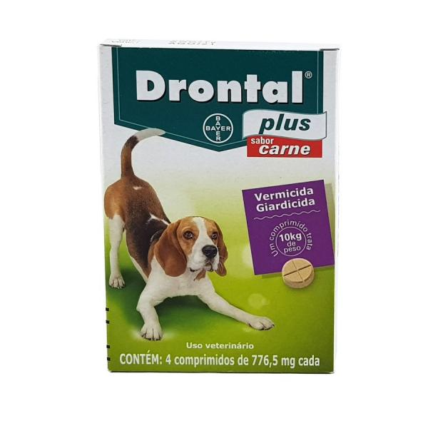 Drontal Plus Carne Cães 10kg 4 Comp Bayer Vermífugo Oral