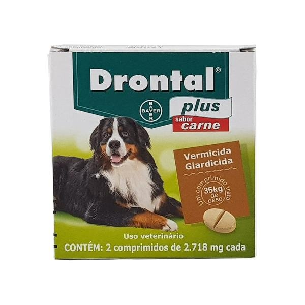 Drontal Plus Carne Cães 35kg 2 Comp Bayer Vermífugo Oral