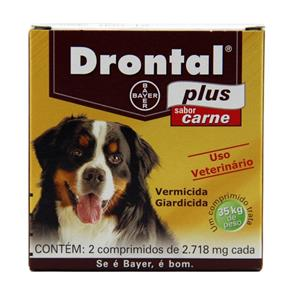 Drontal Plus Carne Cães 35kg 2 Comp - Bayer (vermífugo Oral)