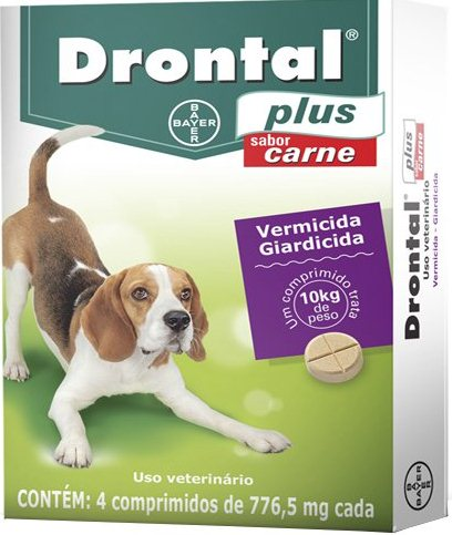 Drontal Plus Sabor Carne - 776,5mg - 4 Comprimidos