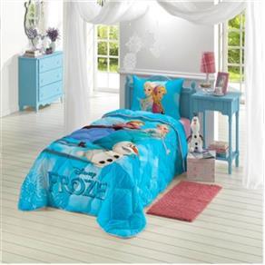 Edredom Solteiro Infantil Lepper Frozen - Azul Doce
