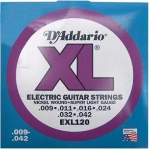 Encordoamento para Guitarra 0.09 Exl120B D`Addario