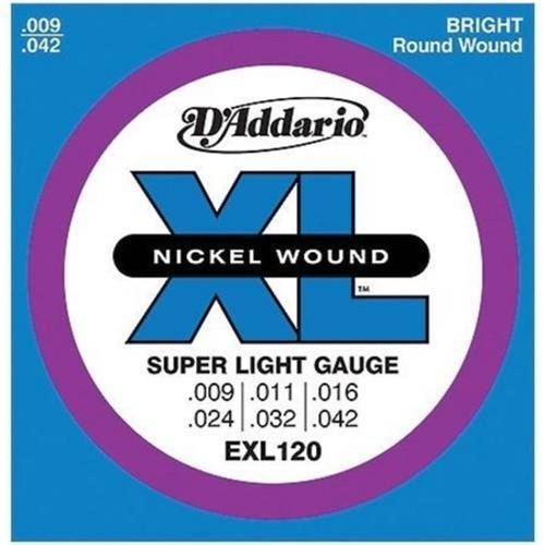 Encordoamento para Guitarra D'addario Exl120 6 Cordas Super Light .009-.042 Corda Mi Extra