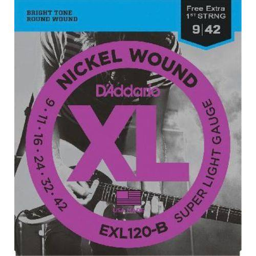 Encordoamento para Guitarra - Exl120-b 6 Cordas Super Light .009-.042 - Corda Mi Extra D'addario