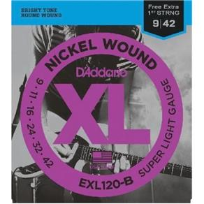 Encordoamento para Guitarra - Exl120-B 6 Cordas Super Light .009-.042 - Corda Mi Extra D`Addario