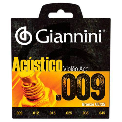 Tudo sobre 'Encordoamento Violão Aço Geswal 0,09 Giannini'