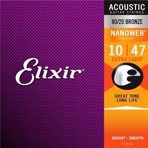 Encordoamento Violao Elixir 11002 Aco .010-.047 Nanoweb - 80/20 Bronze