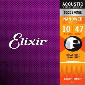 Encordoamento Violão Elixir 11002 Aço .010-.047 Nanoweb - 80/20 Bronze