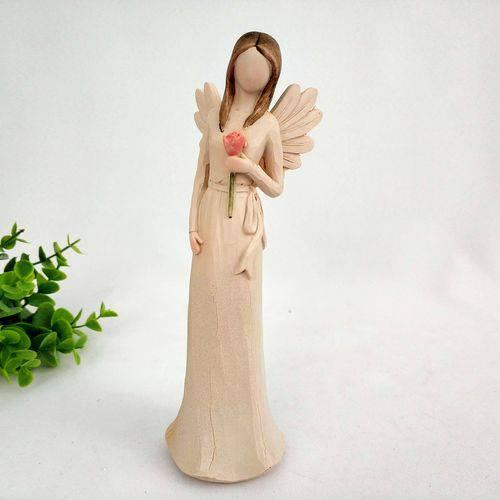 Tudo sobre 'Enfeite Anjo com Rosa Decoração 20cm Estátua'