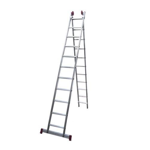 Escada de Alumínio Extensível 2 X 11 Degraus 3,25 X 5,56 M - MODELO 3 em 1 - Rotterman