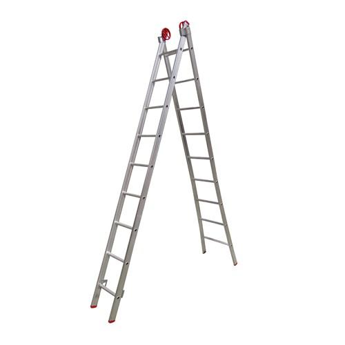 Escada de Alumínio Extensível 2 X 9 Degraus 3,00 X 4,80 M - Modelo 3 em 1 - Rotterman