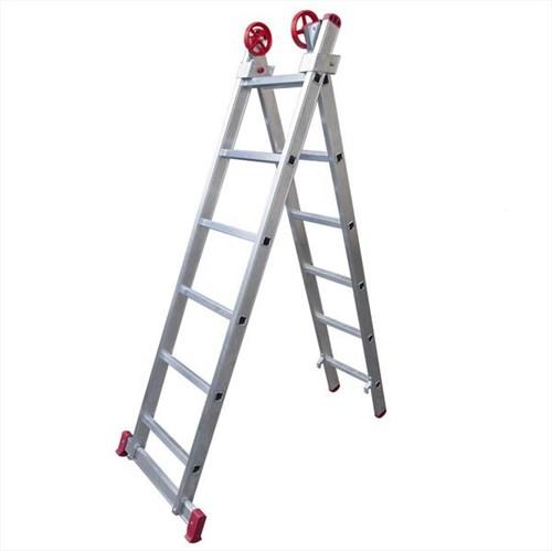 Escada de Alumínio Extensível 2x6 Degraus 1,85 X 2,76 M - MODELO 3 em 1 - Rotterman