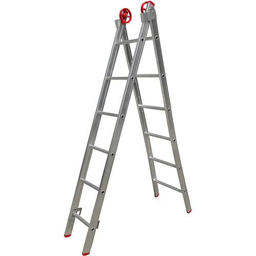 Escada 3 em 1 Extensiva Botafogo Lar&Lazer Alumínio 2x6 Degraus