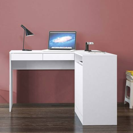 Escrivaninha com Mesa para Computador 2 Portas Portugal Branco - Politorno
