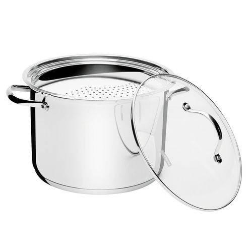 Espagueteira Aço Inox com Fundo Triplo 24cm - América - Tramontina