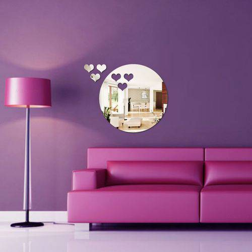 Tudo sobre 'Espelho Decorativo Acrílico - Círculo e Corações'