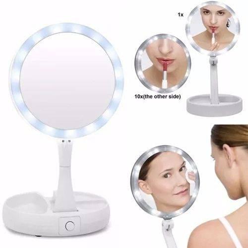 Espelho Luzes de Led Dupla Face com Aumento