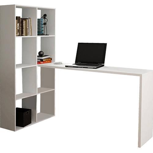 Estante com 8 Prateleiras e Mesa para Computador BE 38 - Branca - BRV