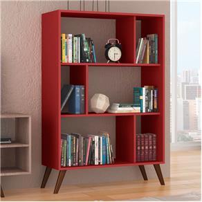 Estante para Livros Baixa Rt 3015 Vermelho - Móvel Bento - Vermelho